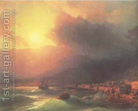 View of Yalta in evening by Ivan Konstantinovich Aivazovsky - Reproduction Oil Painting