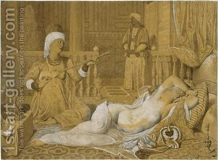 Odalisque with Slave by Jean Auguste Dominique Ingres - Reproduction Oil Painting