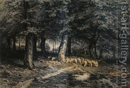 Herd of sheep in the forest by Ivan Shishkin - Reproduction Oil Painting