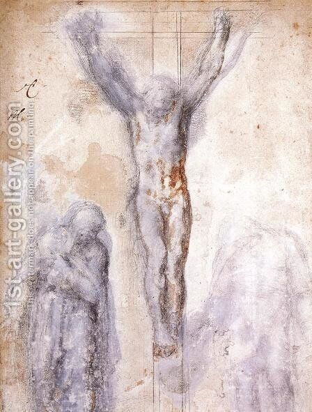 Study of Christ on the Cross between the Virgin and St. John the Evangelist by Michelangelo - Reproduction Oil Painting