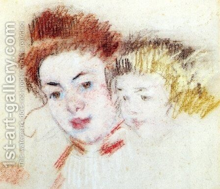Sketch of Reine and Child by Mary Cassatt - Reproduction Oil Painting