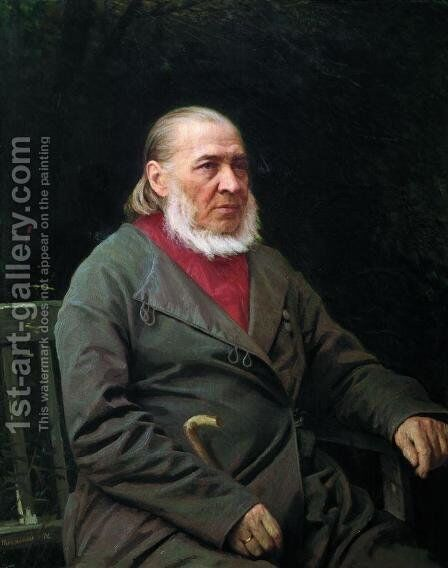 Portrait of Sergei Timofeevich Aksakov by Ivan Nikolaevich Kramskoy - Reproduction Oil Painting