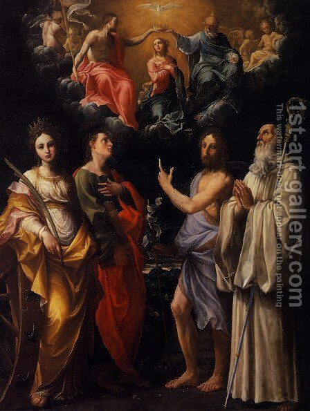 Coronation of the Virgin with St. Catherine of Alexandria, St. John the Evangelist, St. John the Baptist by Guido Reni - Reproduction Oil Painting