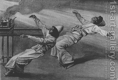 Nadab and Abihu are killed in the Tabernacle, Leviticus by James Jacques Joseph Tissot - Reproduction Oil Painting