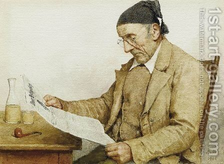 Grossvater mit Zeitung by Albert Anker - Reproduction Oil Painting