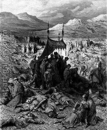 Burying the Dead After the Battle of Dorylaeum by Gustave Dore - Reproduction Oil Painting