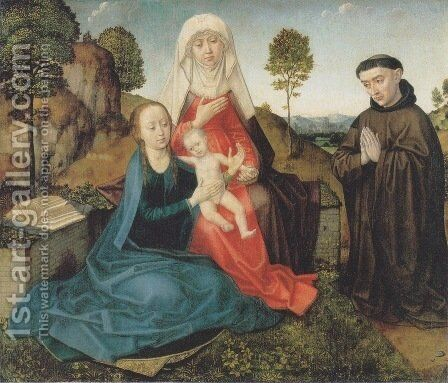 Virgin and Child With St. Anne and a Franciscan donor by Hugo Van Der Goes - Reproduction Oil Painting