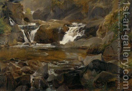 A stream with dam in Auvergne by Theodore Rousseau - Reproduction Oil Painting