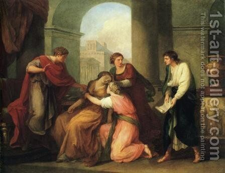 Virgil Reading the Aeneid to Augustus and Octavia by Angelica Kauffmann - Reproduction Oil Painting