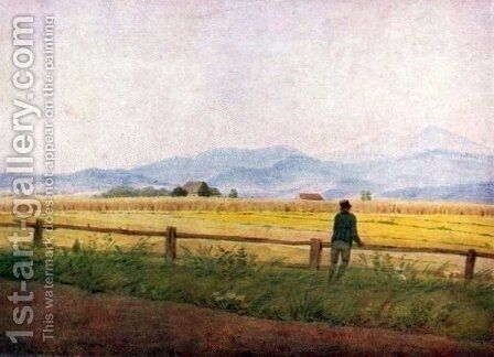 Landscape with a male figure by Caspar David Friedrich - Reproduction Oil Painting