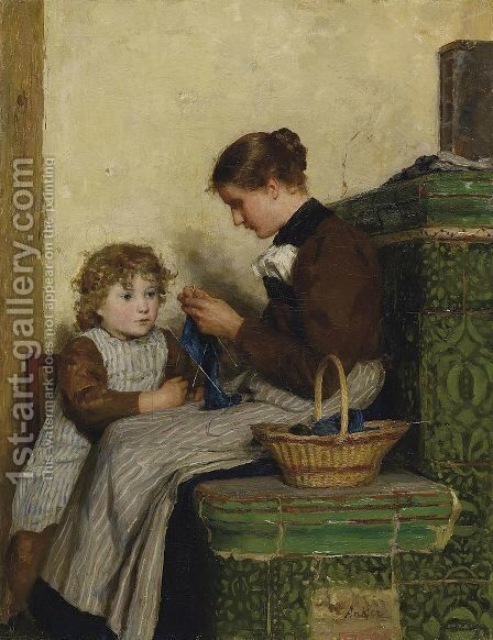 Bertha Gugger mit Tochter by Albert Anker - Reproduction Oil Painting