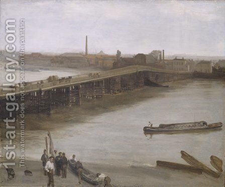 Brown and Silver Old Battersea Bridge by James Abbott McNeill Whistler - Reproduction Oil Painting