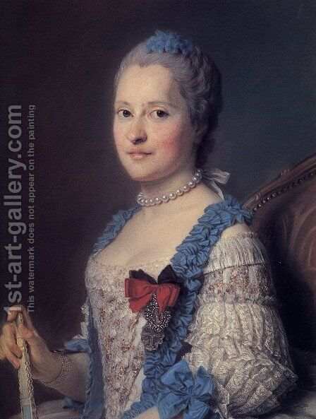 Marie Josephe of Saxony by Maurice Quentin de La Tour - Reproduction Oil Painting