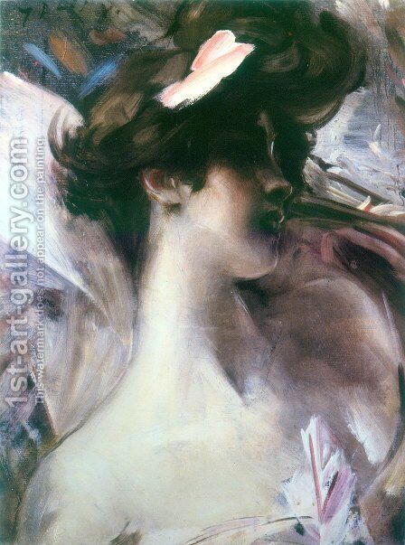 Young woman's head on a pink background by Giovanni Boldini - Reproduction Oil Painting