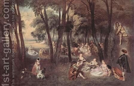 Entertainment countryside by Jean-Antoine Watteau - Reproduction Oil Painting