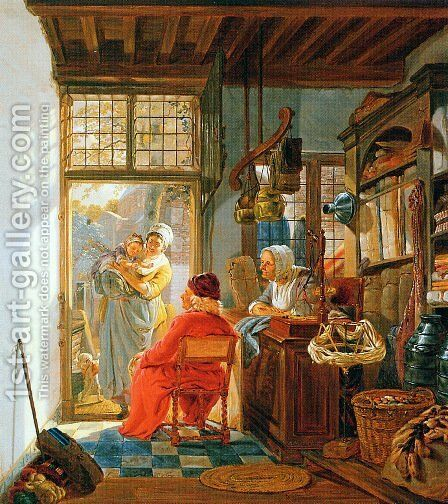 Interior of wool and sheetshop by Abraham van, I Strij - Reproduction Oil Painting