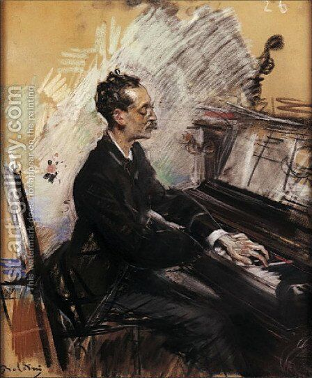 The Pianist A. Rey Colaco by Giovanni Boldini - Reproduction Oil Painting
