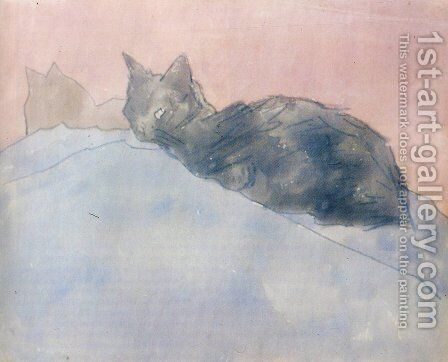 Black Cat on Blue and Pink by Gwen John - Reproduction Oil Painting