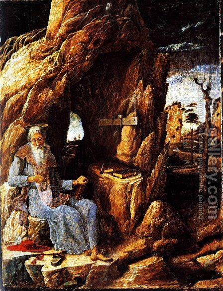 St. Jerome in the Wilderness by Andrea Mantegna - Reproduction Oil Painting