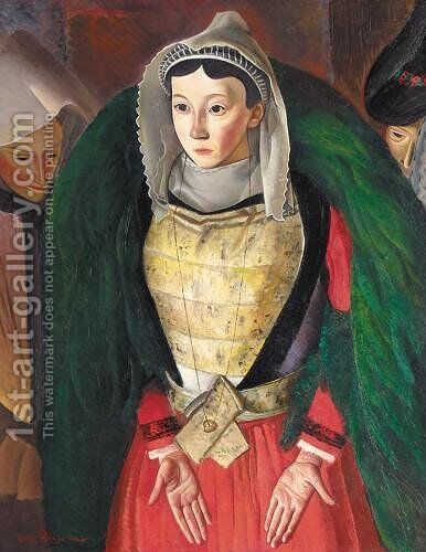 Woman from Bretagne by Boris Dmitrievich Grigoriev - Reproduction Oil Painting