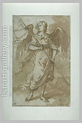 Angel holding a banner by Bartolome Esteban Murillo - Reproduction Oil Painting