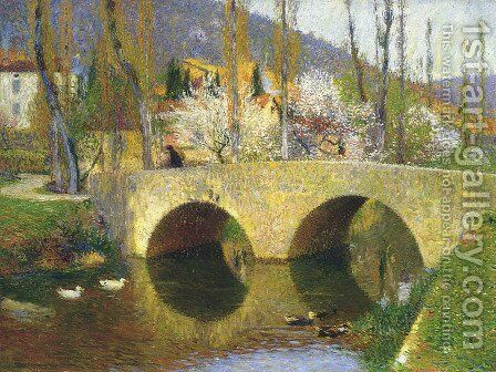 The Bridge at Labastide du Vert in Spring by Henri Martin - Reproduction Oil Painting