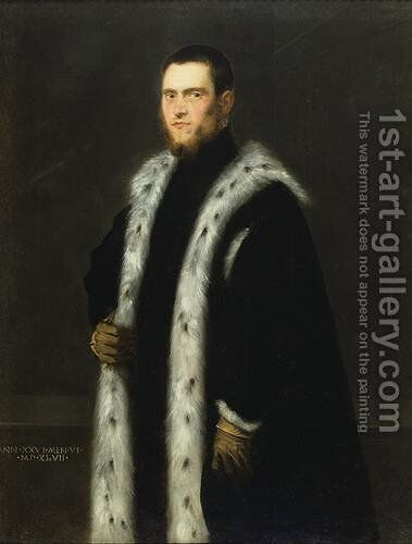 Portrait of a Man aged Twenty six, by Jacopo Tintoretto (Robusti) - Reproduction Oil Painting