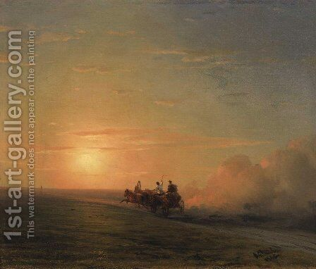 Troika in the steppe by Ivan Konstantinovich Aivazovsky - Reproduction Oil Painting