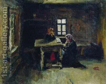 In the hut 2 by Ilya Efimovich Efimovich Repin - Reproduction Oil Painting