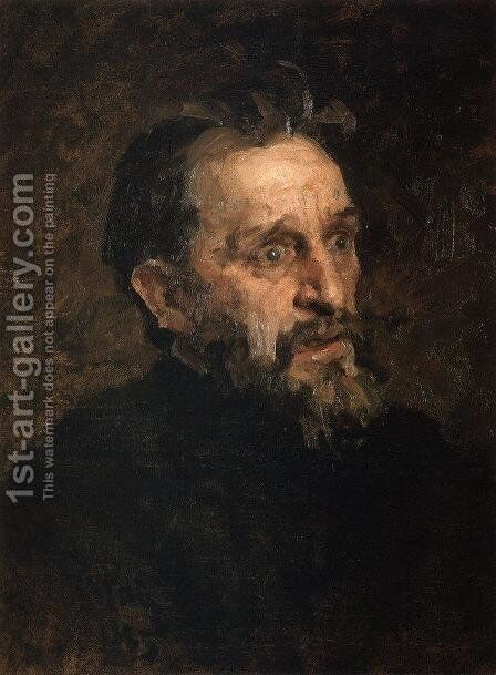 Portrait of I. Repin (study) by Grigori Grigorievich Mjasoedov - Reproduction Oil Painting