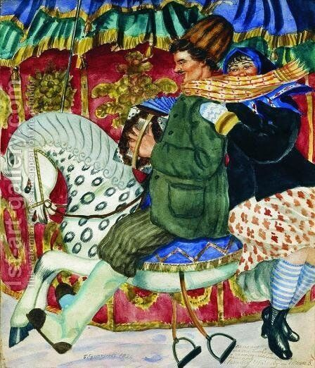 Merry Go Round by Boris Kustodiev - Reproduction Oil Painting