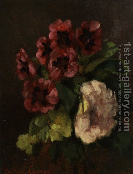 Bouquet of flowers by Gustave Courbet - Reproduction Oil Painting