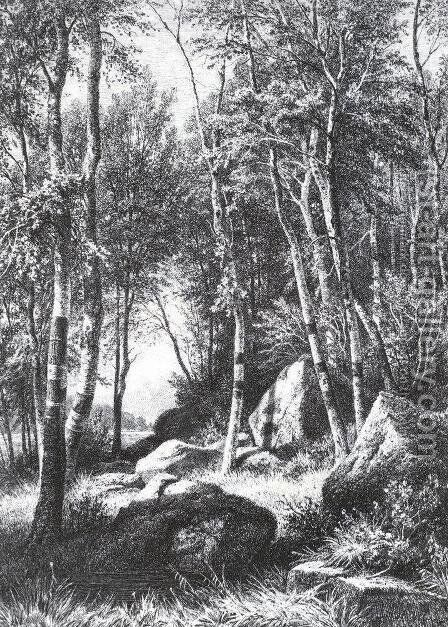 At the edge of a birch grove. Valaam by Ivan Shishkin - Reproduction Oil Painting