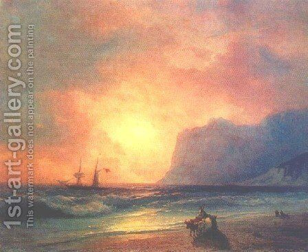 The sunset on sea 2 by Ivan Konstantinovich Aivazovsky - Reproduction Oil Painting