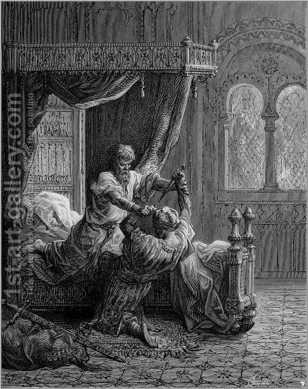 Edward I of England kills his would be assassin in June 1272 by Gustave Dore - Reproduction Oil Painting
