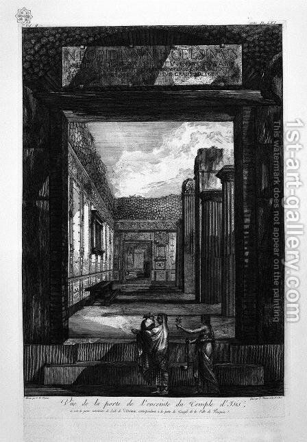 Transverse and longitudinal sections of the Temple of Isis and adjacent parts by Giovanni Battista Piranesi - Reproduction Oil Painting