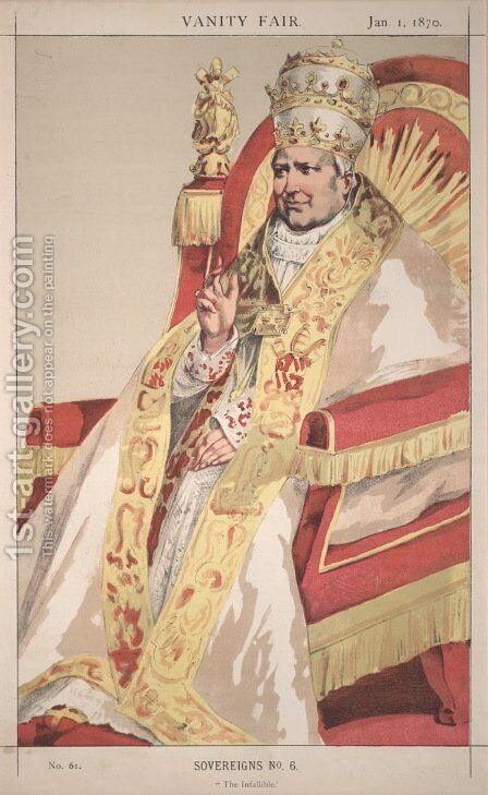 Sovereigns No.60 Caricature of Pope Pius IX by James Jacques Joseph Tissot - Reproduction Oil Painting