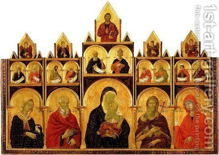 The Madonna and Child with Saints by Duccio Di Buoninsegna - Reproduction Oil Painting