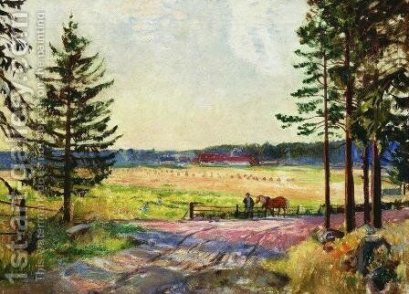 Arable by Boris Kustodiev - Reproduction Oil Painting