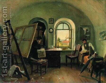 Ivan Shishkin and A. Guinet in the studio on the island of Valaam by Ivan Shishkin - Reproduction Oil Painting