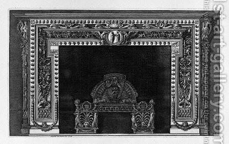 Fireplace with a cameo in the frieze and border of small acorns, rich wing by Giovanni Battista Piranesi - Reproduction Oil Painting
