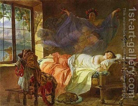 A Dream of a Girl Before a Sunrise by Karl Briullov - Reproduction Oil Painting