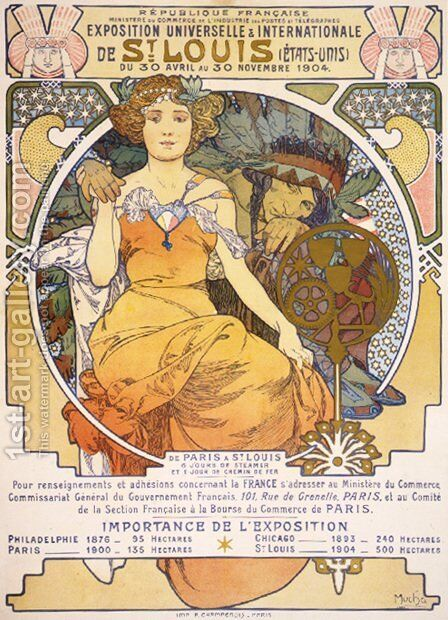 Art nouveau color lithograph poster showing a seated woman clasping the hand of a Native American by Alphonse Maria Mucha - Reproduction Oil Painting
