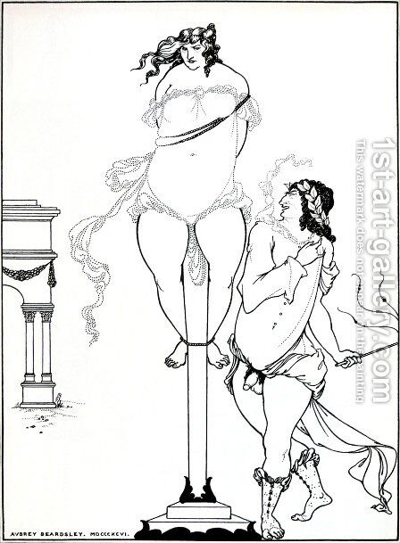 Juvenal Scourging Woman by Aubrey Vincent Beardsley - Reproduction Oil Painting
