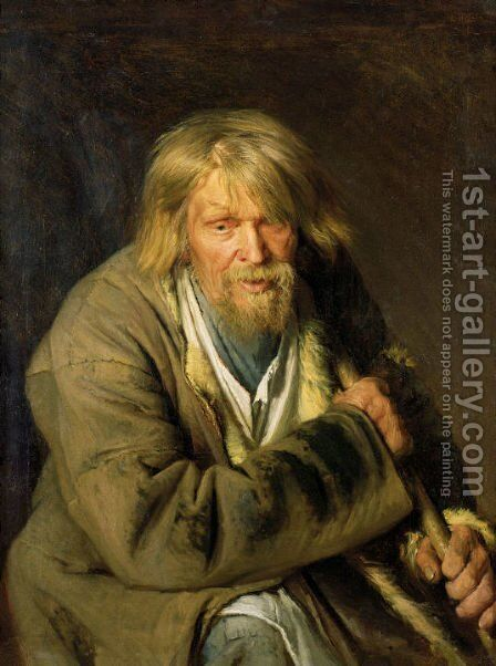 Old Man with a Crutch by Ivan Nikolaevich Kramskoy - Reproduction Oil Painting
