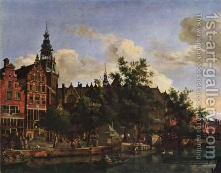 View of Oudezijds Voorburgwal with the Oude Kerk in Amsterdam by Adriaen Van De Velde - Reproduction Oil Painting