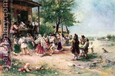 Round-dance at Aninoasa by Theodor Aman - Reproduction Oil Painting