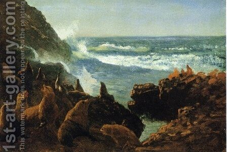 Sea Lions, Farallon Islands by Albert Bierstadt - Reproduction Oil Painting