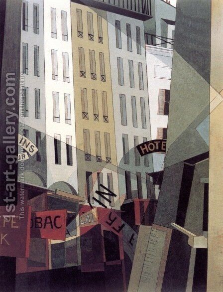 Rue du Singe Qui Peche by Charles Demuth - Reproduction Oil Painting