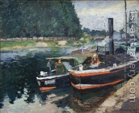 Barges on Pontoise by Camille Pissarro - Reproduction Oil Painting